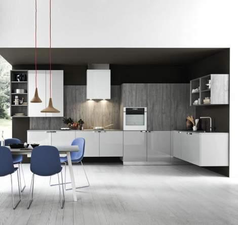 Ariel Ash Eco Gloss/Grey Sherwood Oak Kitchen Composition, Cesar Italy