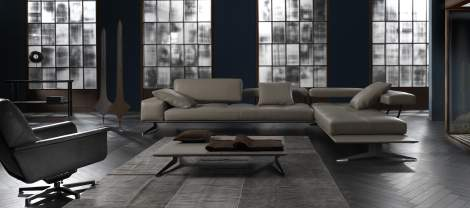 Blue A/B Sectional Sofa, Cierre Italy