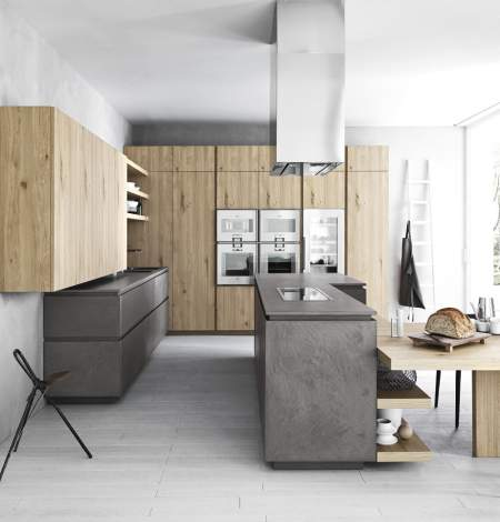 Cloe Dark Eco Cement Natural Knotted Oak Kitchen Composition, Cesar Italy