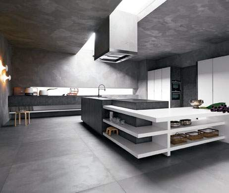 Elle Brown Stone White Silk-Effect Lacquer Kitchen Composition, Cesar Italy