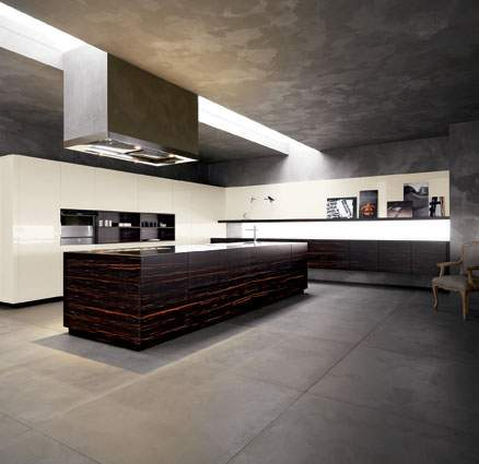Elle Ebony Gloss Butter Lacquered Kitchen Composition, Cesar Italy
