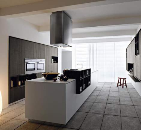 Kalea Mulled Rough Oak Silk-Effect White Lacquer Kitchen Composition, Cesar Italy