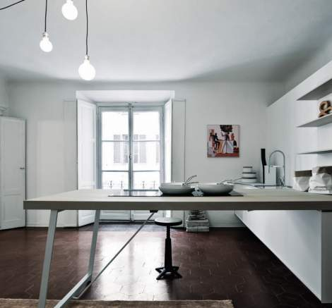 Kalea White Etched Glass Bleached Rough Oak Kitchen Composition, Cesar Italy