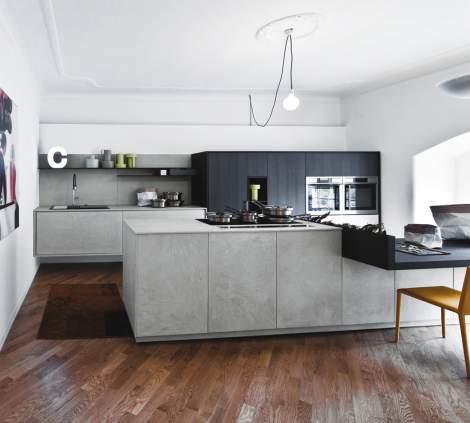 Kalea Light Eco Cement Mulled Rough Oak Kitchen Composition, Cesar Italy