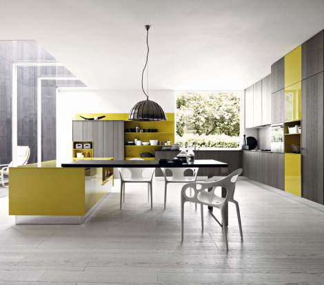 Kalea Clay Rought Oak Gloss Mustard Lacquer Kitchen Composition, Cesar Italy