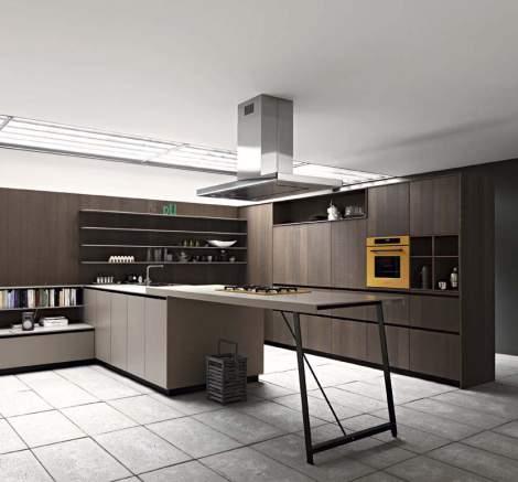 Kalea Cognac Rough Oak Silk-Effect Clay Lacquer Kitchen Composition, Cesar Italy