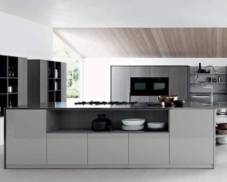 Kalea Clay Rough Oak Gloss Ash Lacquer Kitchen Composition, Cesar Italy
