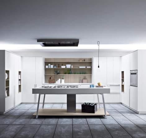 Kalea White Lacquer Rough Oak Kitchen Composition, Cesar Italy