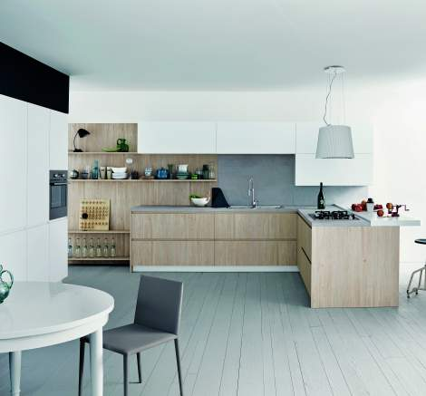 Maxima 2.2 Light Laquer Knotted Larch Melamine Kitchen Composition, Cesar Italy