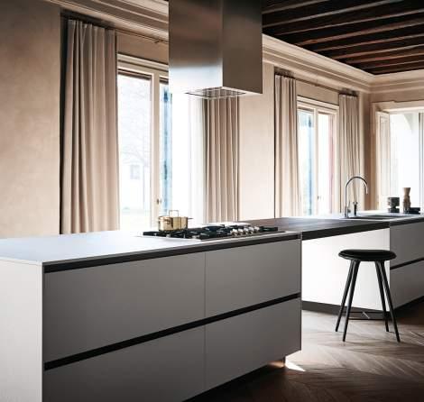 Maxima 2.2 Neve Ceramic White Bush-Hummered Soneware Kitchen Composition, Cesar Italy
