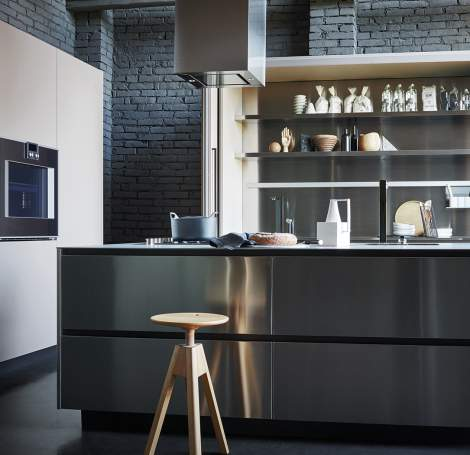 Maxima 2.2 Stainless Steel Mud Fenix Kitchen Composition, Cesar Italy