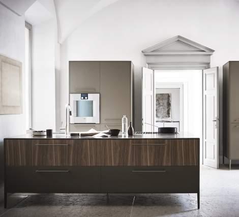 Unit Silk-Effect Laguna Lacquer, Noce Canaletto/Grigio Amani Marble Kitchen Composition, Cesar Italy