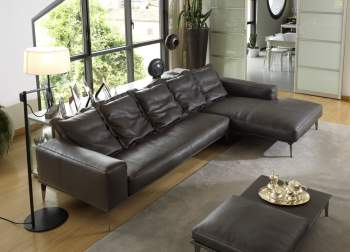Aida B Maxi Leather Sectional, Cierre Italy