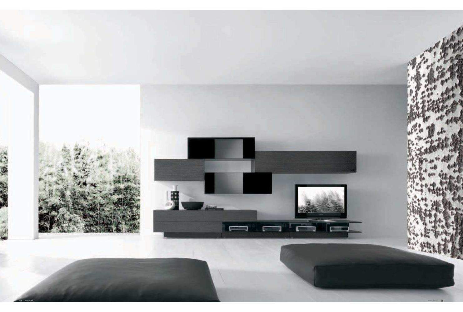 Modern Tv Wall Unit Comp 228 Wood By Presotto Italy